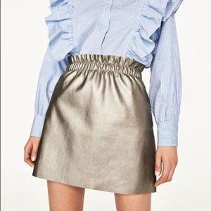 🐯2/40$! Zara metallic silver/gold paperbag skirt